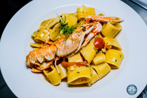 Fresh and fried  - Paccheri scampi, pachino e bottarga